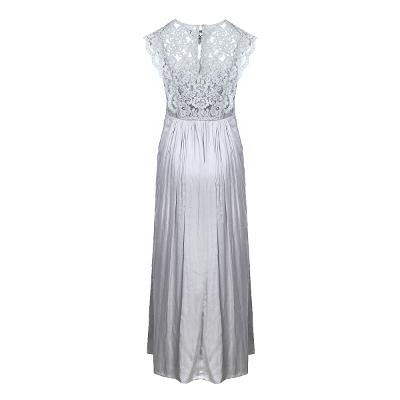 lace top shirring dress gray